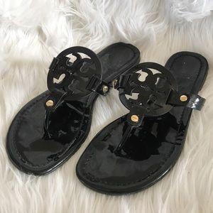 "Tory Burch ""Miller"" sandals patent black sz 8"